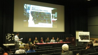 Photo showing student panel at the presentation of the 6 word essays.