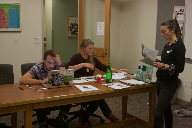 Editorial Managing Editor Nicky Ouellet, Copy Chief Reagan Colyer and Staff Photographer Jake Green settle in for a long night as the rest of the team files out.