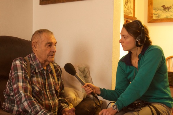 Graduate student Nicky Ouellet interviews Sonny Morigeau, a former tribal council member of the Confederated Salish and Kootenai Tribes.