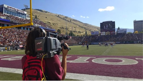 Joe Lesar in the end zone during the Griz v. NAU, September 2015. Photo by Peter Riley.