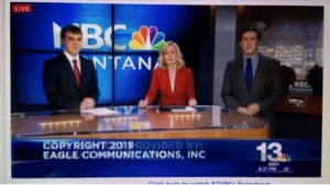 Ethaniel Fitzgerald delivers the news with fellow reporters for NBC Montana.