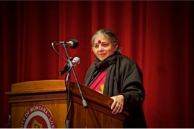 Vandana Shiva speaks at the Dennison Theater