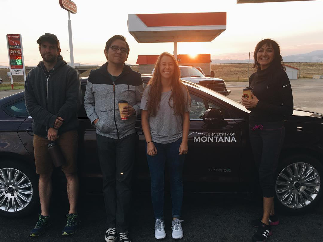 MJR students and J-School Professor Jason Begay on the road to Standing Rock.
