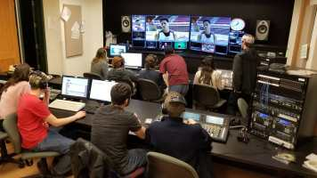 Students get hands-on experience in the studio at High School Journalism Day. Photo by Professor Kevin Tompkins.