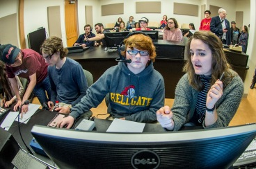 High school students learn the ins and outs of video and TV production during High School Journalism Day. Photo by Todd Goodrich.