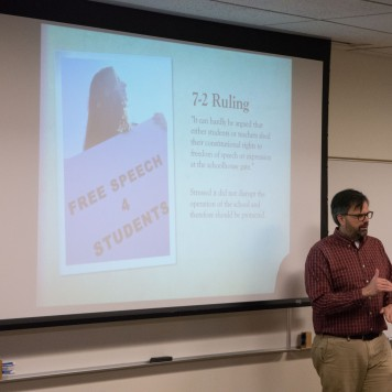 "Professor Lee Banville teaches ""Can This Hashtag Get Me Suspended?"" covering the rules around schools and what they can and cannot do to students for speaking out in class and on social media. Photo by Jamie Drysdale."