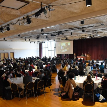 Students gather in the University Center Ballroom for the kick off of High School Journalism Day. Photo by Jamie Drysdale.
