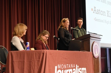 Montana JEA State Director/Mentor Linda Ballew gives the Montana High School Journalist of the Year Award to Aston Kinsella of Sentinel High School. Photo by Jamie Drysdale.