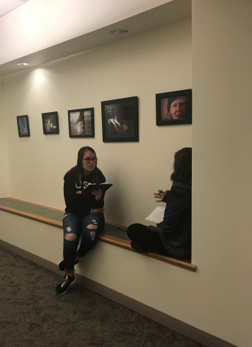 """Students learn how to find """"telling details"""" in a feature writing workshop. Photo by Courtney Cowgill."""