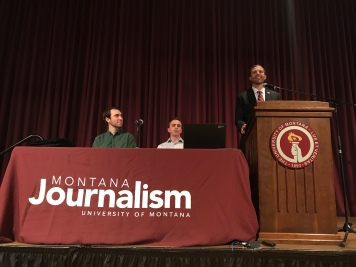 "UM President Seth Bodnar opens High School Journalism Day at the University of Montana: ""We live in a time when it's very, very easy to stay within your echo chamber … to talk to people who only share the same view … to hear very narrow perspectives. Today, journalism is even more important, I would argue, than it's ever been. Because, journalism is about telling the stories of the world and communicating information in an effective, informed way."" Photo by Lido Vizzutti."